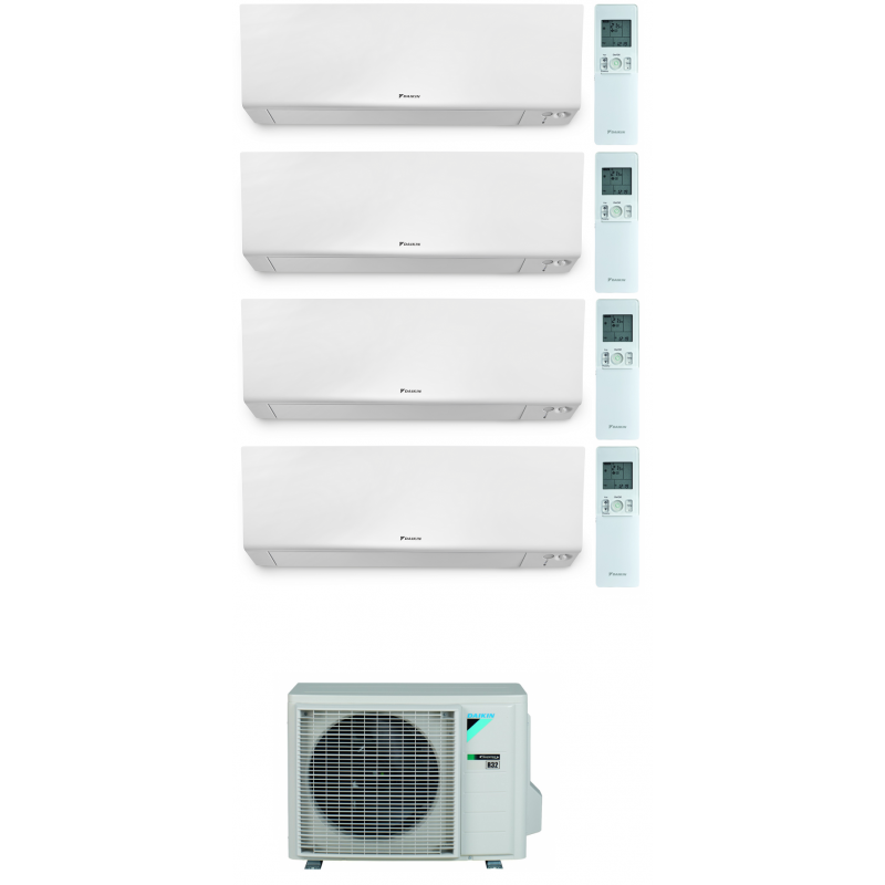 CONDIZIONATORE DAIKIN PERFERA WALL QUADRI SPLIT 7000+7000+12000+18000 BTU WI-FI INVERTER R32 4MXM80N A+++