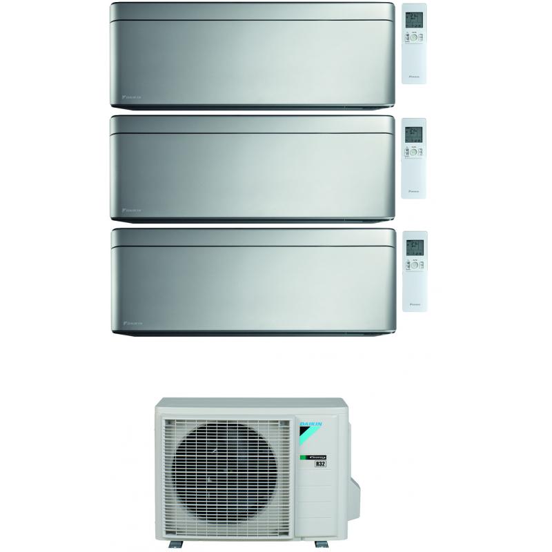 CONDIZIONATORE DAIKIN STYLISH SILVER WI-FI TRIAL SPLIT7000+7000+15000 BTU INVERTER GAS R-32 3MXM52N A+++