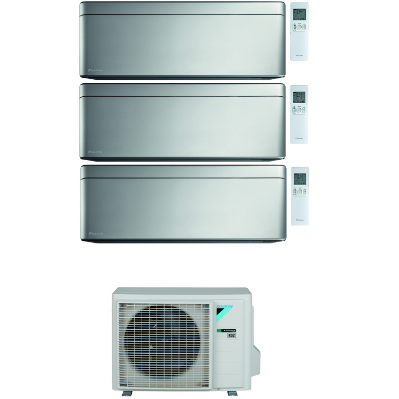 CONDIZIONATORE DAIKIN STYLISH SILVER WI-FI TRIAL SPLIT7000+7000+7000 BTU INVERTER GAS R-32 3MXM68N A+++