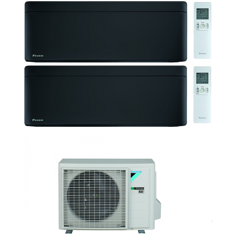 CONDIZIONATORE DAIKIN STYLISH TOTAL BLACK WI-FI DUAL SPLIT7000+18000 BTU INVERTER GAS R-32 2MXM50N A+++