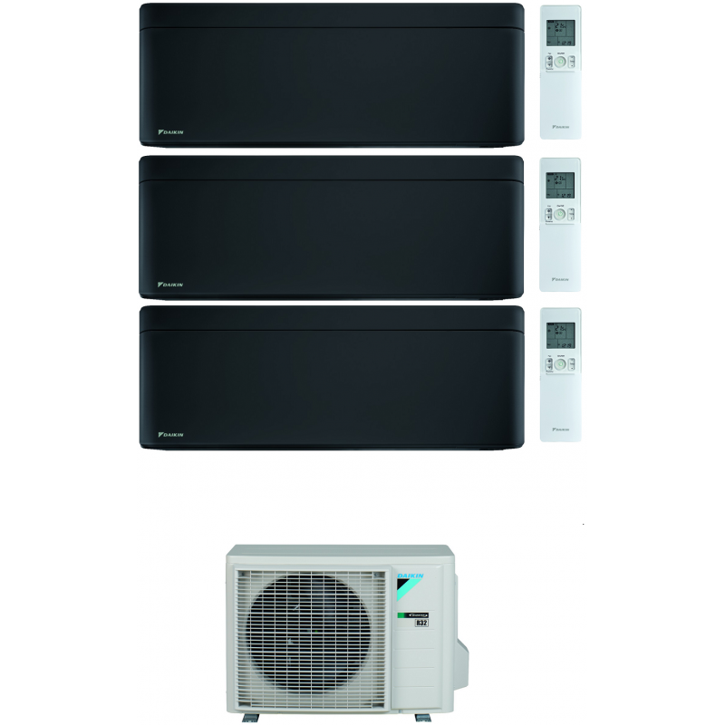 CONDIZIONATORE DAIKIN STYLISH TOTAL BLACK WI-FI TRIAL SPLIT 7000+7000+15000 BTU INVERTER GAS R-32 3MXM68N A+++